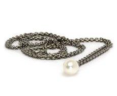 Fabtasikæde sølv med hvid perle