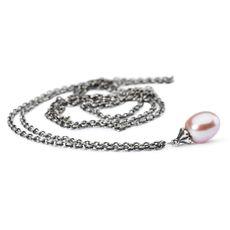 Fantasikæde sølv med rosa perle