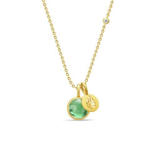 PRIMINI signature halskæde 60cm i forgyldt sølv med green amethyst crystal.