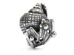 Trollbeads sølv charm Konkylie i skjul