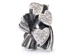 """Trollbeads sølv charm """"Blomstrende hjerter"""""""