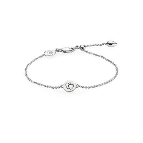 """Izabel Camille """"Beautiful Together"""" armbånd i sølv med hjerter."""