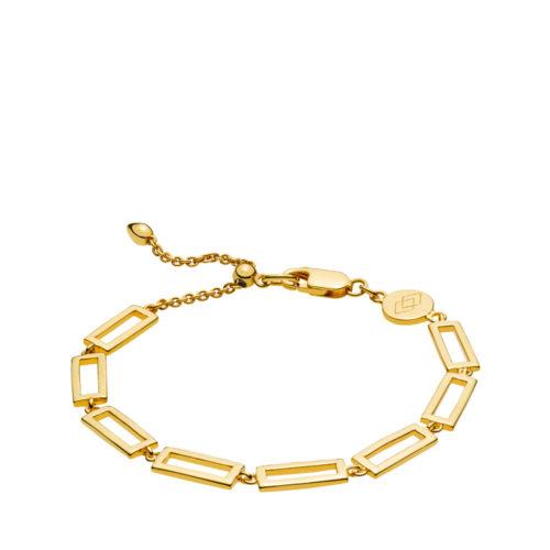 """Izabel Camille """"Times square"""" armbånd i forgyldt sølv med rektangler. Armbåndets længde kan justeres ved hjælp af glidelåsen."""