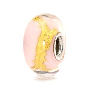 """Trollbeads glas charm """"Lyserød guld"""""""