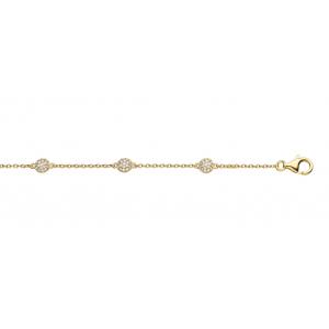 """Spirit Icons """"Grace"""" armbånd i forgyldt sølv med kugler der er paveret med hvide syntetiske zirkonias. Armbåndets længde kan variere fra 17 til 20 cm."""