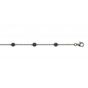 """Spirit Icons """"Grace"""" armbånd i sort rhodineret sølv med kugler der er paveret med hvide syntetiske zirkonias. Armbåndets længde kan variere fra 17 til 20 cm."""