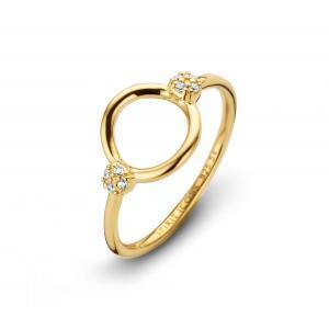 """Spirit Icons """"Perfection"""" ring i forgyldt sølv. Ringen er en åben cirkel. På hver sin side af cirklen er der en kugle der er paveret med hvide syntetiske zirkonias."""