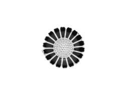 Lund Copenhagen marguerit broche i sølv med sort emalje. Marguerit brochen er 25 mm.