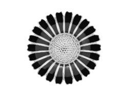 Lund Copenhagen marguerit broche i sølv med sort emalje. Marguerit brochen er 43 mm.