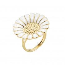 Lund Copenhagen marguerit ring i forgyldt sølv med hvid emalje. Margueritten på ringen er 25 mm.