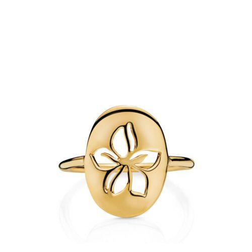 "Izabel Camille ""Hibiscus"" ring i forgyldt sølv. Ringen forstiller en Hawaii blomst."