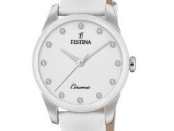 """Festina """"Ceramic"""" dameur i stål med hvid læderrem. Urskiven er hvid med syntetiske zirkonias som markeringer. Rundt på urets krans er der hvid keramik."""