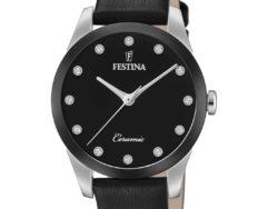 """Festina """"Ceramic"""" dameur i stål med sort læderrem. Urskiven er sort med syntetiske zirkonias som markeringer. Rundt på urets krans er der sort keramik."""