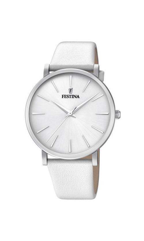 """Festina """"Purity"""" dameur i stål med hvid læderrem. Urskiven er hvid med streger som markeringer."""