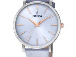 """Festina """"Purity"""" dameur i stål med lyseblå læderrem. Urskiven er lyseblå med streger som markeringer. Markeringerne er rosaguldduble."""