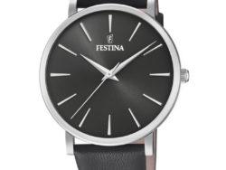 """Festina """"Purity"""" dameur i stål med sort læderrem. Urskiven er sort med streger som markeringer."""