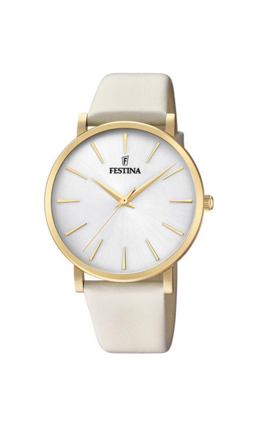 """Festina """"Purity"""" dameur i guldduble stål med hvid læderrem. Urskiven er hvid med streger som markeringer."""