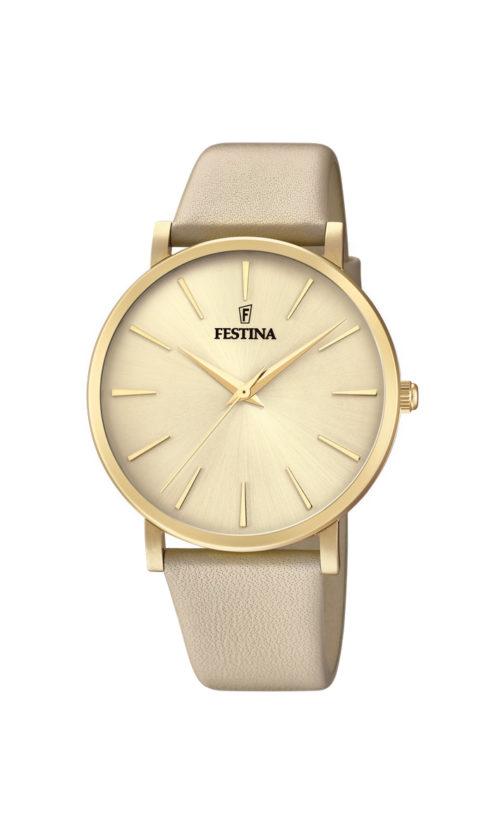 """Festina """"Purity"""" dameur i guldduble stål med beige læderrem. Urskiven er guld med streger som markeringer."""