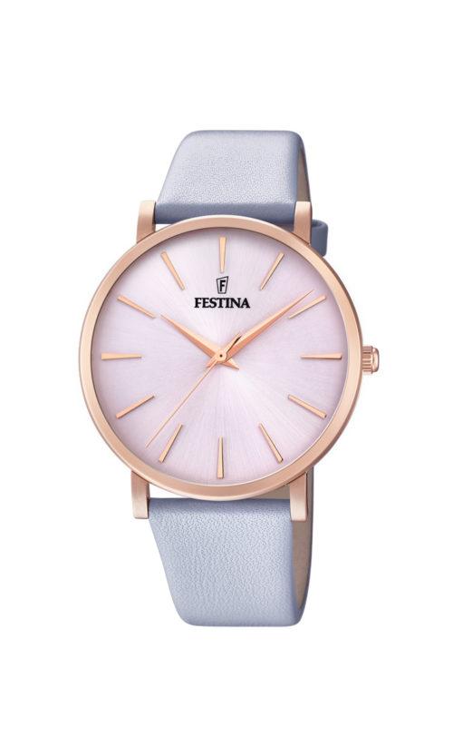 """Festina """"Purity"""" dameur i rosaguldduble stål med lyseblå læderrem. Urskiven er lyserød med streger som markeringer."""