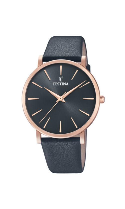 """Festina """"Purity"""" dameur i rosaguldduble stål med sort læderrem. Urskiven er sort med streger som markeringer."""