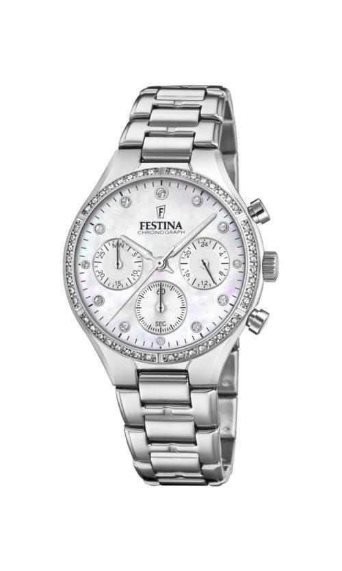 """Festina """"Boyfriend"""" dameur i stål med lænke og hvid perlemors urskive. Markeringerne er sten. Uret har også stopur og datovisning. På urets krans er der hvide syntetiske zirkonias."""