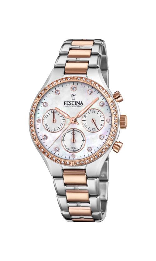 """Festina """"Boyfriend"""" dameur i bicolor af rosaguldduble og stål med lænke og hvid perlemors urskive. Markeringerne er sten. Uret har også stopur og datovisning. På urets krans er der hvide syntetiske zirkonias."""