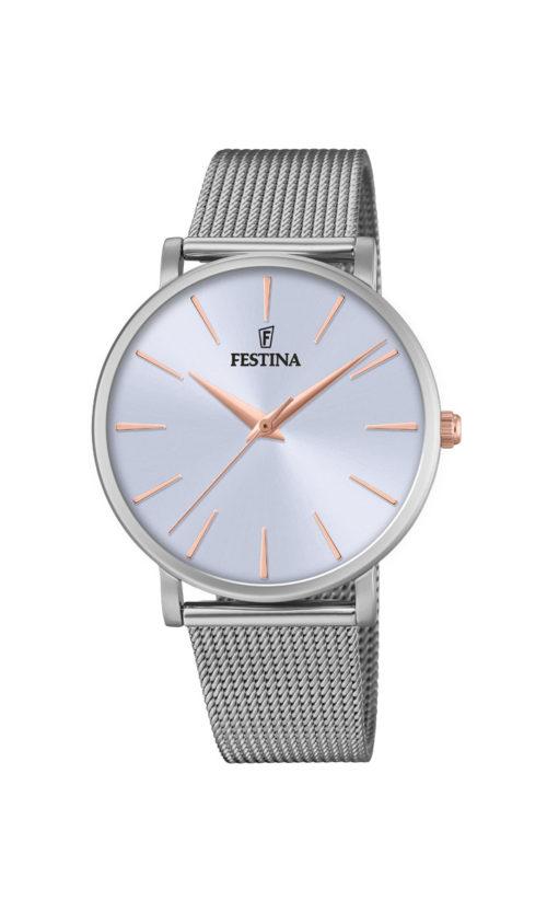 """Festina """"Purity"""" dameur i stål med meshlænke. Urskiven er lyseblå med streger som markeringer. Markeringerne er rosaguldduble."""