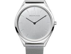 """Bering Time """"Ultra slim"""" unisex ur i stål med meshlænke. Urskiven er sølv farvet med streger som markeringer."""
