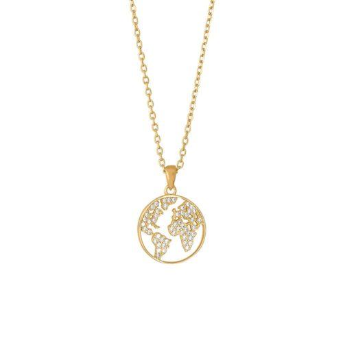 """Forgyldt sølv halskæde med hvide syntetiske zirkonias. """"Ettanor"""" halskæden kan kombineres med andre smykker fra Joanli Nor."""