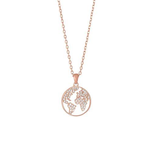 """Rosaforgyldt sølv halskæde med hvide syntetiske zirkonias. """"Ettanor"""" halskæden kan kombineres med andre smykker fra Joanli Nor."""