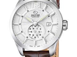 Jaguar Acamar i rustfrit stål med hvid urskive og brun læderrem. Uret er med datovisning.