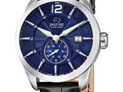 Jaguar Acamar i rustfrit stål med blå urskive og sort læderrem. Uret er med datovisning.