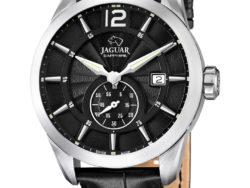 Jaguar Acamar i rustfrit stål med sort urskive og sort læderrem. Uret er med datovisning.