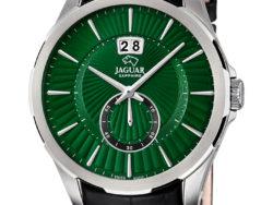 Jaguar Acamar i rustfrit stål med grøn urskive og sort læderrem. Uret er med datovisning.