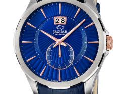 Jaguar Acamar i rustfrit stål med blå urskive og blå læderrem. Uret er med datovisning.