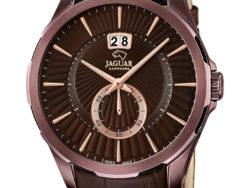 Jaguar Acamar i rustfrit brunt stål med brun urskive og brun læderrem. Uret er med datovisning.