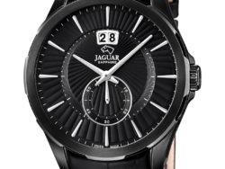 Jaguar Acamar i rustfrit sort stål med sort urskive og sort læderrem. Uret er med datovisning.