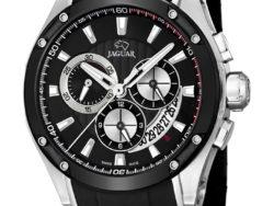 Jaguar Special Edition i rustfrit stål med sort urskive. Uret er med datovisning og kronograffunktion. Der følger også en læderrem med til urene.