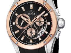 Jaguar Special Edition i rustfrit stål og rosaguldduble med sort urskive. Uret er med datovisning og kronograffunktion. Der følger også en læderrem med til urene.