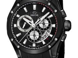 Jaguar Special Edition i rustfrit sort stål med sort urskive. Uret er med datovisning og kronograffunktion. Der følger også en læderrem med til urene.