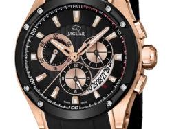 Jaguar Special Edition i rustfrit sort stål og rosaguldduble med sort urskive. Uret er med datovisning og kronograffunktion. Der følger også en læderrem med til urene.