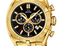 Jaguar Special Edition ur i rustfrit guldduble stål med sort urskive. Uret er med datovisning og kronograffunktion.