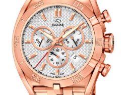 Jaguar Special Edition ur i rustfrit rosaguldduble stål med hvid urskive. Uret er med datovisning og kronograffunktion.