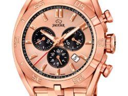 Jaguar Special Edition ur i rustfrit rosaguldduble stål med rosa urskive. Uret er med datovisning og kronograffunktion.
