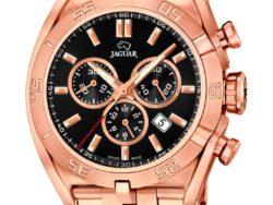 Jaguar Special Edition ur i rustfrit rosaguldduble stål med sort urskive. Uret er med datovisning og kronograffunktion.