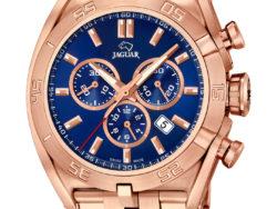 Jaguar Special Edition ur i rustfrit rosaguldduble stål med blå urskive. Uret er med datovisning og kronograffunktion.