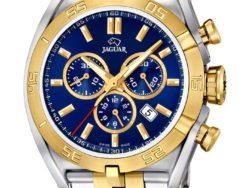 Jaguar Special Edition ur i bicolor, guldduble og stål, med blå urskive. Uret er med datovisning og kronograffunktion.