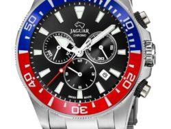 Jaguar Executive Diver i rustfrit stål med sort urskive. Uret er med datovisning, drejelynette og kronograffunktion. Jaguar urene findes med forskellige flotte skivefarver.