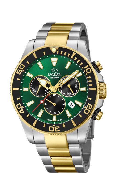 Jaguar Executive Diver i rustfrit stål og guldduble stål med grøn urskive. Uret er med datovisning, drejelynette og kronograffunktion. Jaguar urene findes med forskellige flotte skivefarver.