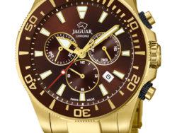 Jaguar Executive Diver i rustfrit guldduble stål med brun urskive. Uret er med datovisning, drejelynette og kronograffunktion. Jaguar urene findes med forskellige flotte skivefarver.